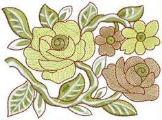 motif bordir bunga kuning