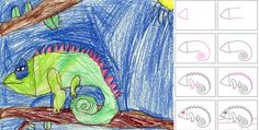 How To Draw A Chameleon | Art Projects for Kids
