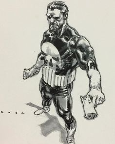 Punisher by Lewis LaRosa #punisher #marvel #comics #art #drawing #ink #copic #micron