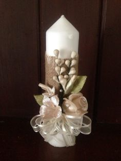 White Candle Decorated with Burlap Fabric Cold by designsbyemilys, $17.99