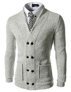(VRC14-IVORY) Slim Fit Double Breasted Knitted Napping 8 Button Cardigan