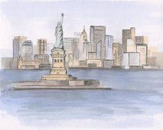 Statue of Liberty painting. Liberty Island. Manhattan painting. NYC painting. Watercolor painting. Urban sketch. Cityscape. Original. 8x10