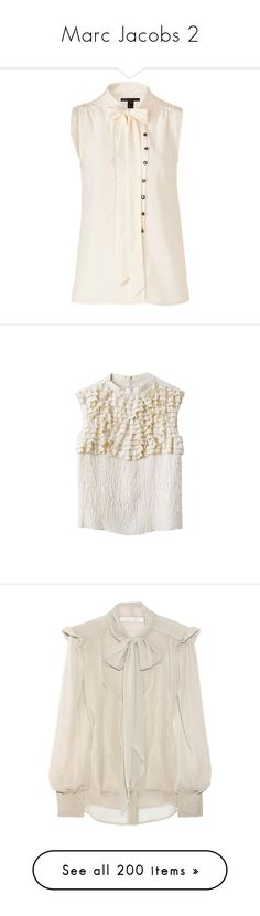 """""""Marc Jacobs 2"""" by c-mcmahon05 ❤ liked on Polyvore featuring tops, blouses, shirts, blusas, white button blouse, white v neck shirt, white sleeveless blouse, loose white shirt, silk button-down shirts and marc jacobs"""