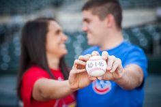 Baseball Engagement Photos - Cubs vs Cardinals. House Divided. Sports Wedding. Softball