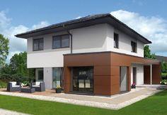 Style 163 W - Baufritz - http://www.hausbaudirekt.de/haus/style-163-w/ - Fertighaus als Einfamilienhaus Modernes Haus Stadthaus mit Walmdach