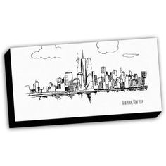 Picture it on Canvas City Sketches New York Tribute Sketch Painting Print on Wrapped Canvas