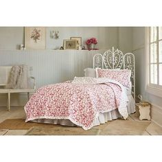 Simply-Shabby-Chic-COUNTRY-PAISLEY-KING-Quilt-Ivory-Red-Pink-Multi-Cottage-NWOT