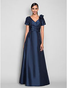 aa5d3b48f9d TS Couture® Prom   Formal Evening   Military Ball Dress - Elegant Plus Size    Petite A-line V-neck Floor-length Taffeta withFlower(s)   Side Draping