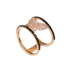 Δαχτυλίδι ασημένιο με ροζ επιχρύσωμα σχέδιο πεταλούδας με λευκά ζιργκον και  μαύρα σπινελ στις άκρες ef202d37f6b