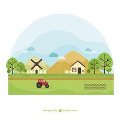 Paisaje de la granja Vector Gratis