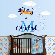Airplane Custom Name Personalized Initial Wall Decal Sticker for Nursery, Boy's…