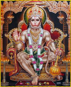 """☀ SHRI HANUMAN ॐ ☀Artist: Yogendra RastogiHanuman chanted the following mantra:""""There is no need of great austerities or penances to worship the Lord, for He accepts even a small service offered by His devotee. Thus He is satisfied, and as soon as He is satisfied, the devotee is successful.""""~Srimad Bhagavatam 5.19.8"""