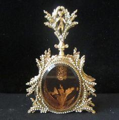 1o2 Vintage Vanity JEWELED Gilt Perfume Bottle Matson rococo peach glass cherub.
