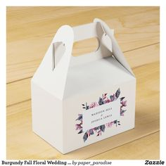 Shop Burgundy Fall Floral Wedding Favor Box created by paper_paradise. Wedding Gift Wrapping, Wedding Favor Boxes, Mr And Mrs Wedding, Fall Wedding, Autumn Weddings, Birthday Cake With Flowers, Simple Flowers, Beautiful Wedding Cakes, Floral Wedding Invitations
