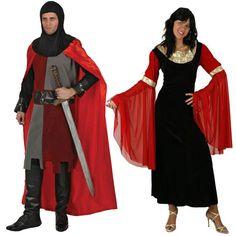 Costumes pour couples Moyen Âge Rouges #déguisementscouples