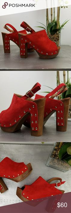 Fire Red Clogs Soft faux suede upper, 4' block heel, RUNS TRUE TO SIZE, man made wodden heel.  Brand new w/box.            Brand: Soho Style Zara Shoes Mules & Clogs
