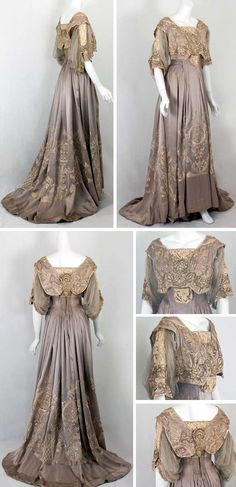 Dinner dress, Callot Soeurs, ca. 1905. Dove gray silk charmeuse with chiffon sleeves. Hand-embroidered with silk floss and gold metallic thread. Venetian lace inserts in bodice, neckline, and sleeves. Padded hem. Bodice boned and lined with taffeta. Back hook closure. Vintage Textile