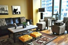 living room decor with edgy feeling in African themed