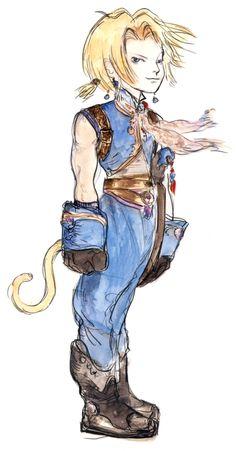 Final Fantasy IX - Zidane Concept Art - Yoshitaka Amano