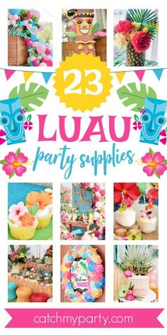 Hawaiian Luau parties are always a huge hit over the summer months, and perfect if you're looking for a tropical theme! See more party ideas and share yours at CatchMyParty.com They work great for birthdays, baby showers, bridal showers, really, any type of party. So, if you're planning a Hawaiian party, don't miss these fun Luau Party Ideas. Luau Party Supplies, Luau Theme Party, Hawaiian Luau Party, Girls Birthday Party Themes, Moana Birthday Party, Tropical Party, Birthday Parties, Girl Birthday, Bridal Showers