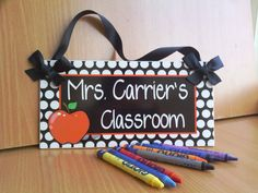 personalized teacher name classroom door sign - white dots red apple themed class wall plaque - PL210 on Etsy, $16.99
