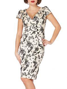 "Women's ""Monarch"" Flocked Pencil Dress by Voodoo Vixen (Beige)"