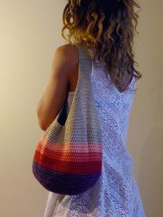 Crochet el bolso de mano, mercado, estilo Tote, mercado bolsa, bolso de ganchillo, cómodo bolso de ganchillo, Crochet hobo, bolso Boho