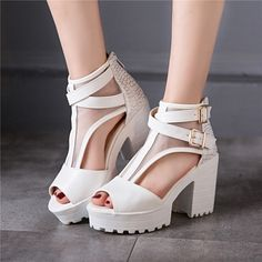 Open Toe Cross Straps Buckle High Heels Platform Sandals 8944