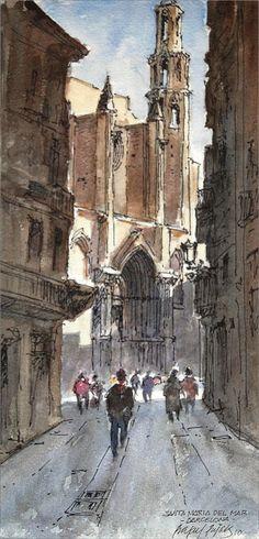 Urban Sketchers Spain. El mundo dibujo a dibujo.: Quién dibuja y dónde: Rafael Pujals > Santa Maria del Mar - Barcelona