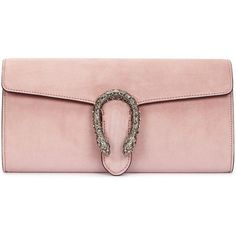Womens Clutches Gucci Dionysus Light Pink Suede Clutch (72,360 INR) ❤ liked on Polyvore featuring bags, handbags, clutches, gucci pochette, suede handbags, pink purse, gucci purses and pink handbags