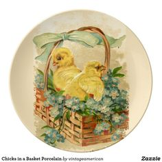 Chicks in a Basket Porcelain