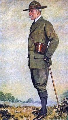 Baden-Powell wordt niet vaak afgebeeld met een lange broek aan.