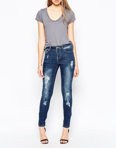 Noisy May Lucy Super Slim Distressed Jeans