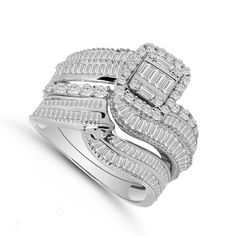 1.70CT Round & Baguette Diamond Engagement Ring Wedding Set 14K White Gold Over #dazzlingjewels19 #BridalSet #EngagementWeddingAnniversaryPromise Diamond Cluster Engagement Ring, Engagement Wedding Ring Sets, Engagement Ring Settings, Wedding Sets, Diamond Rings, Wedding Rings, Baguette Diamond, Round Cut Diamond, Jewelry Rings