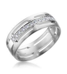 For Him: Furrer-Jacot - Les Magiques 18K White Gold 6.5mm Diamond Cut Out Ring