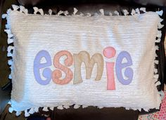 Monogram Bedding, Shabby Chic Baby, Fabric Letters, Applique Pillows, First Birthday Gifts, Machine Applique, Baby Pillows, Chenille Fabric, Personalized Baby Gifts
