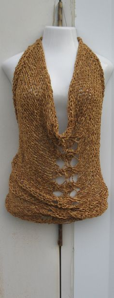 Bare back plunging cowl neck  mini dress or top by Elegantcrochets, $72.00