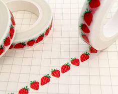 Strawberry Slim Washi Tape Roll - Fruit Masking - 8mm x 10m - Skinny Adhesive Tape Decorative - Strawberries