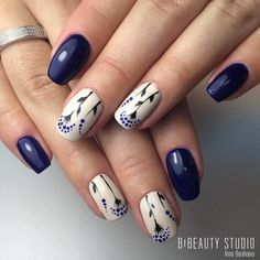 """If you're unfamiliar with nail trends and you hear the words """"coffin nails,"""" what comes to mind? It's not nails with coffins drawn on them. It's long nails with a square tip, and the look has. Blue Nail Designs, Acrylic Nail Designs, Acrylic Nails, Blue Design, Leaf Design, Dark Blue Nails, Navy Nails, Blue Gel, Dark Purple"""