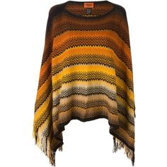Missoni Signature Zig Zag Knit Poncho ($272) ❤ liked on Polyvore featuring outerwear, brown poncho, knit poncho, missoni poncho and missoni