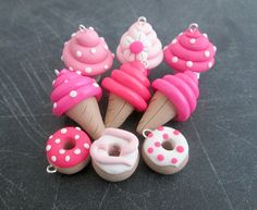 9 Pc. Clay Charms Pink Polymer Clay by Emariecreations on Etsy, $12.00