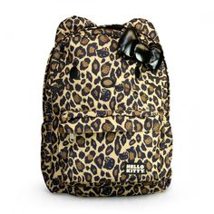LOUNGEFLY HELLO KITTY LEOPARD WITH BLACK BOW BACKPACK