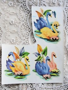 Vintage 1940s Meyercord  Decal Transfers SWANS by vintagegalore, $5.00