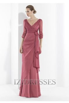 A-Line V-neck Chiffon Mother of the Bride - IZIDRESSES.com