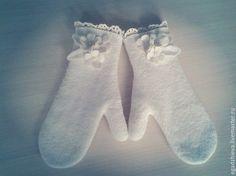 Купить Варежки валяные снежные цеты - белый, варежки ручной работы, варежки из шерсти