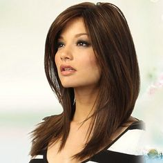 7.48AUD - Women Long Straight Partial Bangs Full Wig Heat Resistant Party Hair Novelty #ebay #Fashion