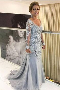 Mother of the Bride Dress, Mother Dress for Wedding, Light Grey Long Sleeves Lace Appliques Elegant Mermaid Mother of the Bride Dresses 2018 Formal Party Evening Gowns
