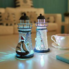 Color Changing LED Lantern Night Light Home Decor Children Room Nautical Style Lighthouse Night Light , Mediterranean Style
