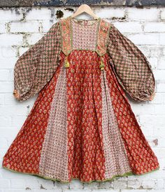 Vintage Very Rare Anokhi floral paisley cotton hippy indian 70s boho smock gypsy midi dress S M