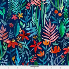 Floral Fabric - Tropical Ink Watercolor Garden By Micklyn - Floral Watercolor Cotton Fabric By The Yard With Spoonflower